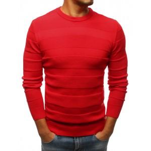 Pánsky pruhovaný sveter v červenej farbe