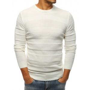 Pánsky značkový sveter v bielej farbe s okrúhlym výstrihom