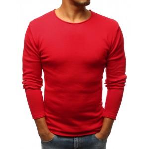 Jednofarebný pánsky sveter v červenej farbe