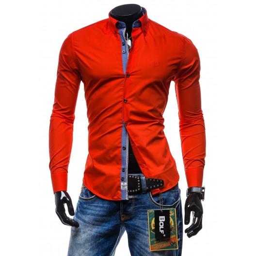 Elegantná červená slim fit pánska košeľa