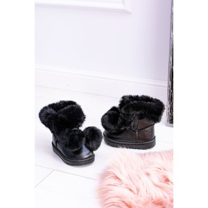 Čierna zimná detská zateplená obuv s kožušinou
