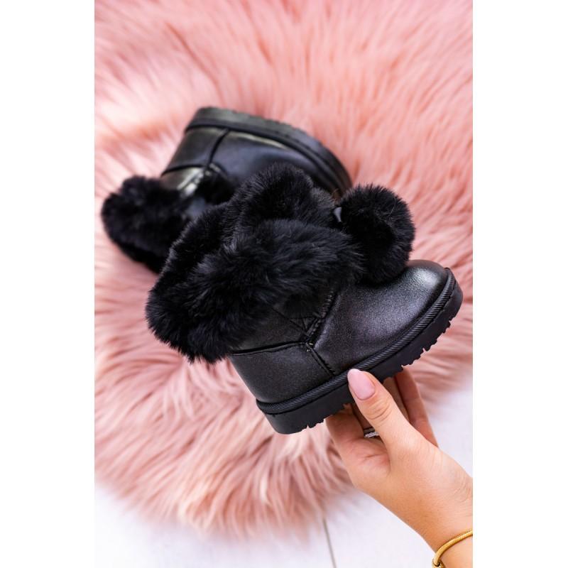 7ed05288e7b0 Čierna zimná detská zateplená obuv s kožušinou