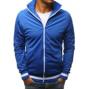 Modrá pánska mikina na zips bez kapucne a s bielym pásom na rukáve