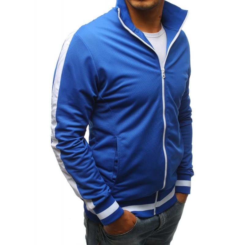 Modrá pánska mikina na zips bez kapucne a s bielym pásom na rukáve a69f337ac9d
