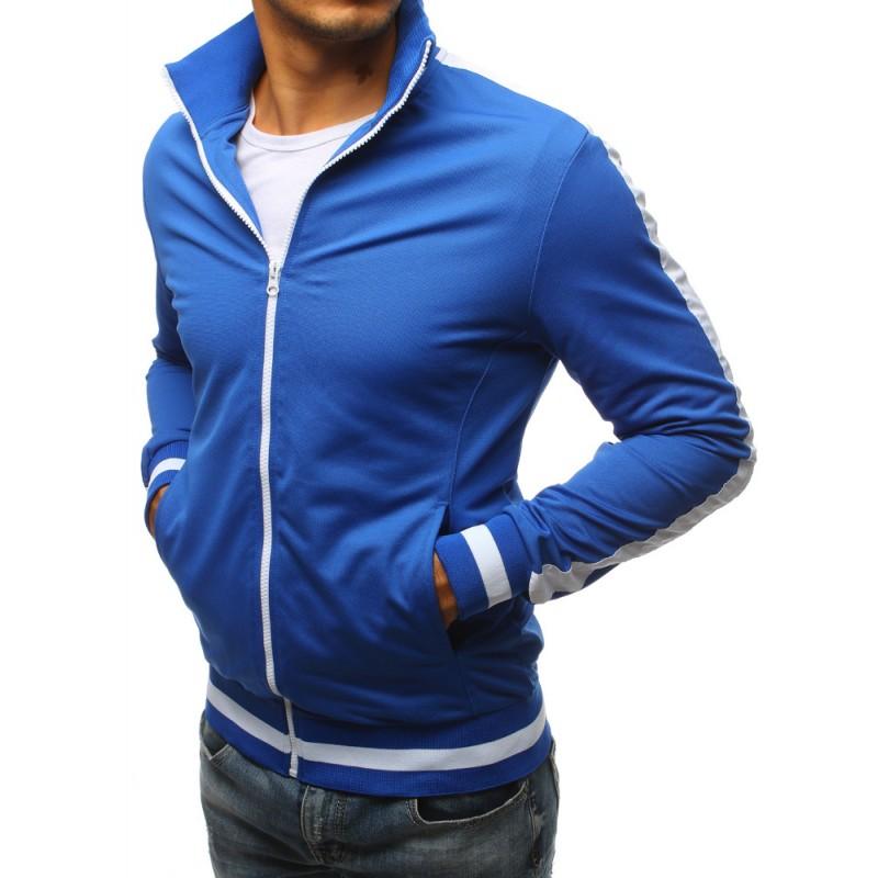 Modrá pánska mikina na zips bez kapucne a s bielym pásom na rukáve 287ead053d7