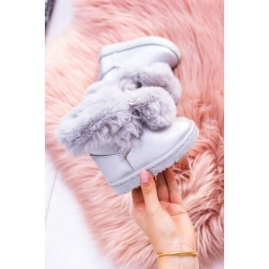 Dievčenské zateplené snehule v sivej farbe s kožuštekom