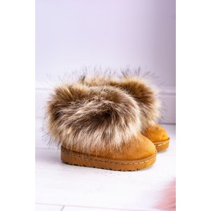 Detská obuv na zimu v béžovej farbe s kožuštekom