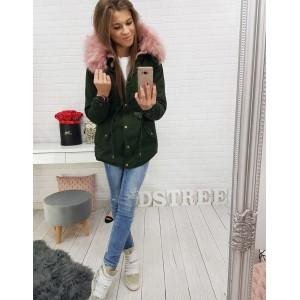Dlhá zelená bunda pre dámy na zimu s kapucňou a ružovou kožušinou