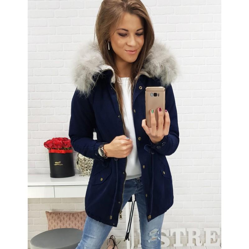 Tmavo modrá dámska bunda na zimu s kapucňou a sivou kožušinou bc87e39712e
