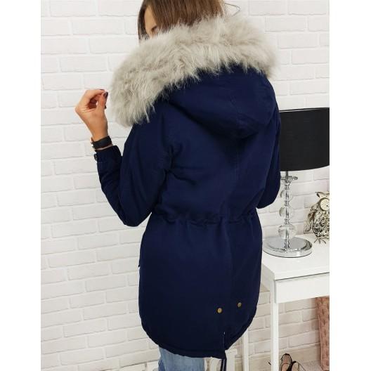 Tmavo modrá dámska bunda na zimu s kapucňou a sivou kožušinou