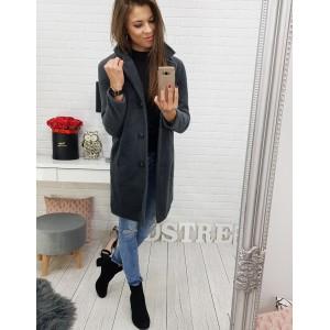 Dámsky kabát v tmavosivej farbe so zapínaním na gombíky