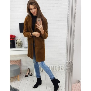 Károvaný kabát pre moderné dámy v béžovej farbe s tmavosivým vzorom a54cea8aa83