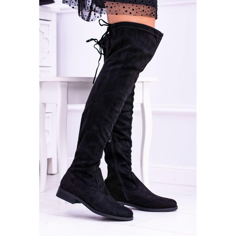 a85e313ef8c9 Čierne dámske semišové čižmy nad kolená