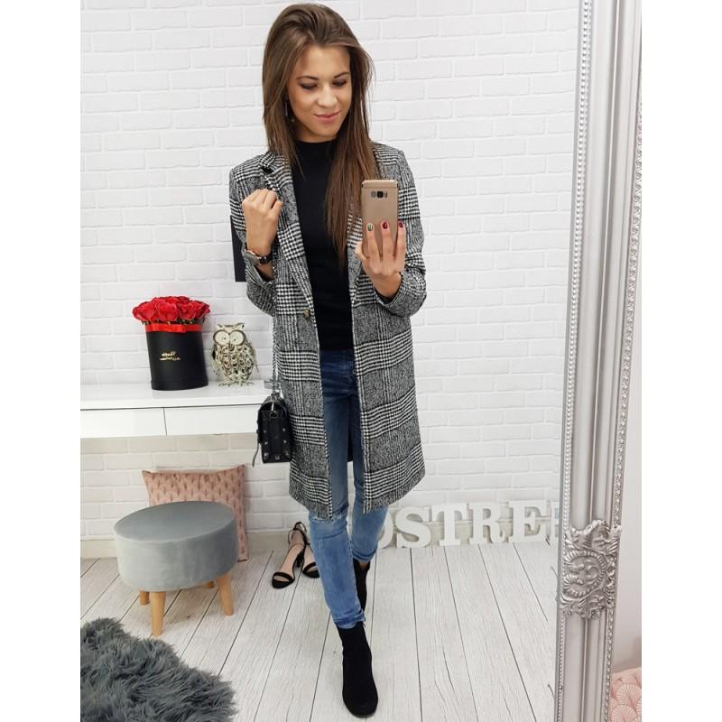 Štýlový károvaný sivý kabát pre dámy a zapínaním na jeden gombík f9e3ef7ab5b