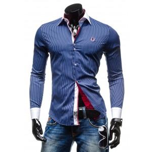 Elegantná pásikavá košeľa modrej farby