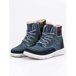 Zimná obuv na šnúrovanie pre deti v modrej farbe