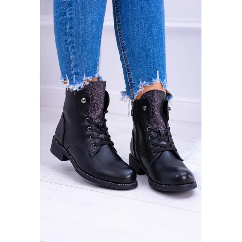 54cc09be472b Originálne čierne topánky na šnurovanie s ozdobným trblietavým jazykom