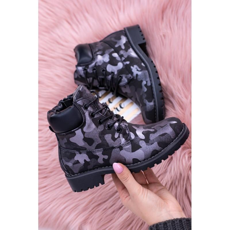 Čierna obuv pre deti v army štýle na šnurovanie 183afc8a2c3