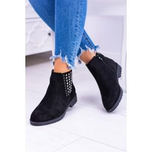 Čierne dámske kotníkové topánky so striebornými vybíjancami 95b7212074d