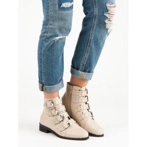 Štýlové béžové členkové topánky s originálnymi vybíjanými prackami
