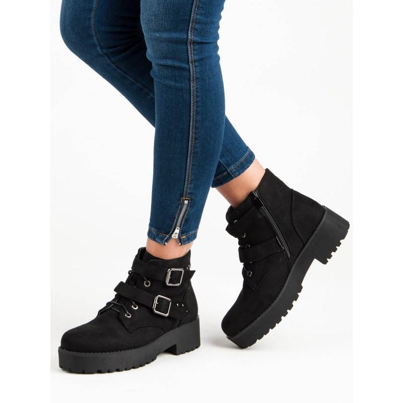 Čierne členkové topánky na platforme so šnurovaním a s prackou 80b86d1d50