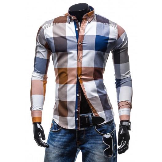 Pánska kockovaná slim fit košeľa hnedej farby