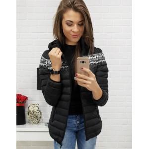 Čierna bunda na zimu s nórskym vzorom