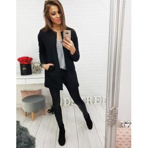 Krátky jesenný kabát pre dámy v čiernej farbe