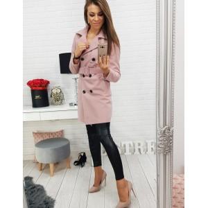 Dámsky ružový kabát na jeseň s opaskom a dvojitým zapínam na gombíky