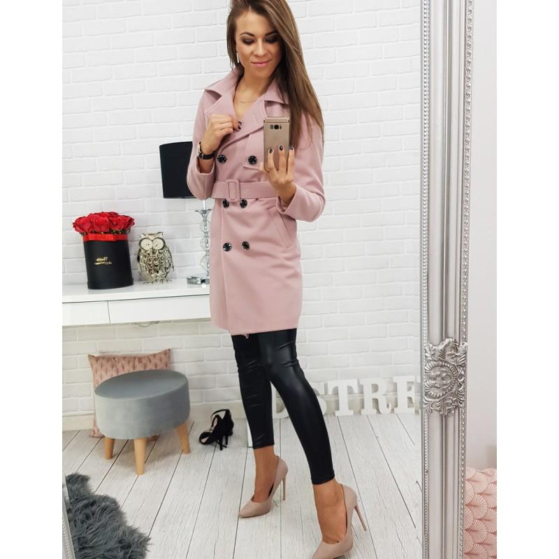 Dámsky ružový kabát na jeseň s opaskom a dvojitým zapínam na gombíky 375398e96cb