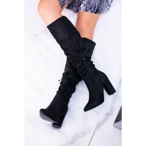 Dámske čižmy na zimu v čiernej farbe na podpätku