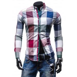 Elegantná pánska pestrofarebná košeľa s kockovaným vzorom