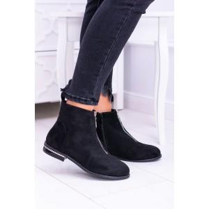 Čierne členkové topánky s kryštalikmi na opätku a trendy zipsom