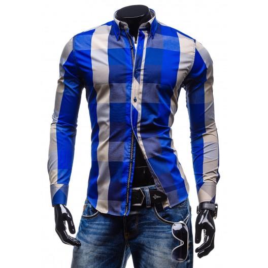 Moderná kockovaná košeľa s dlhým rukávom modrej farby