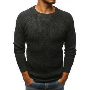 Zimný sveter pre pánov s tmavosivej farbe s okrúhlym výstrihom