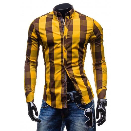 Trendy pánska žltá košeľa s kockovaným vzorom