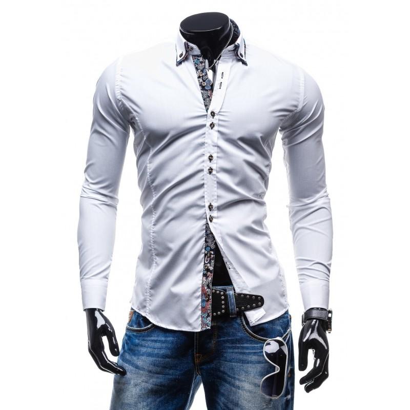 ba9274898b9b Elegantná biela slim fit pánska košeľa - fashionday.eu