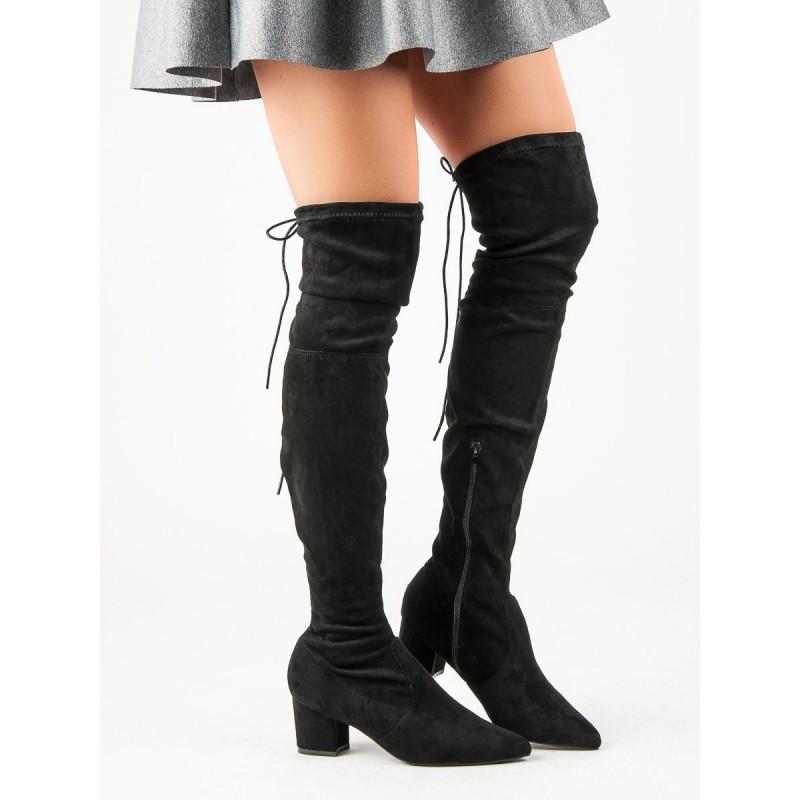 Dámske semišové čižmy nad kolená na módnom opätku 8f4c1d66796
