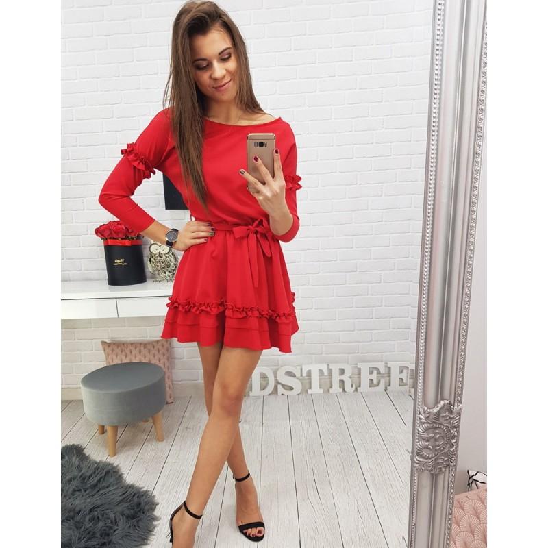 601c3986340b Krátke dámske šaty v červenej farbe s mašľou