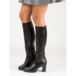 Klasické čierne čižmy pod kolená na opätku