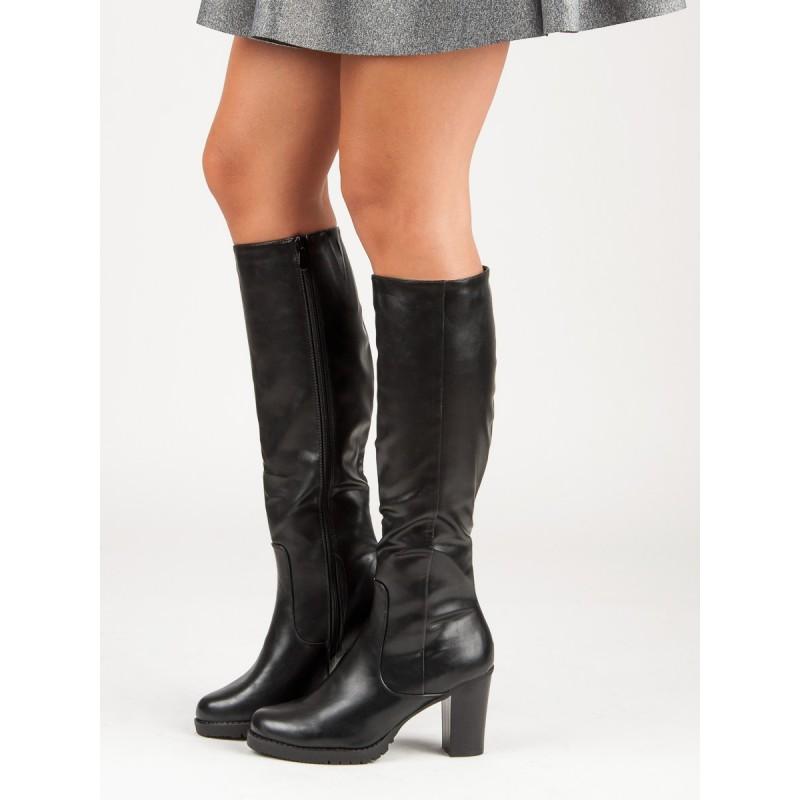 c10038588e Klasické čierne čižmy dámske pod kolená na opätku