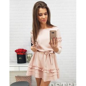 Štýlové krátke šaty pre dámy v ružovej farbe