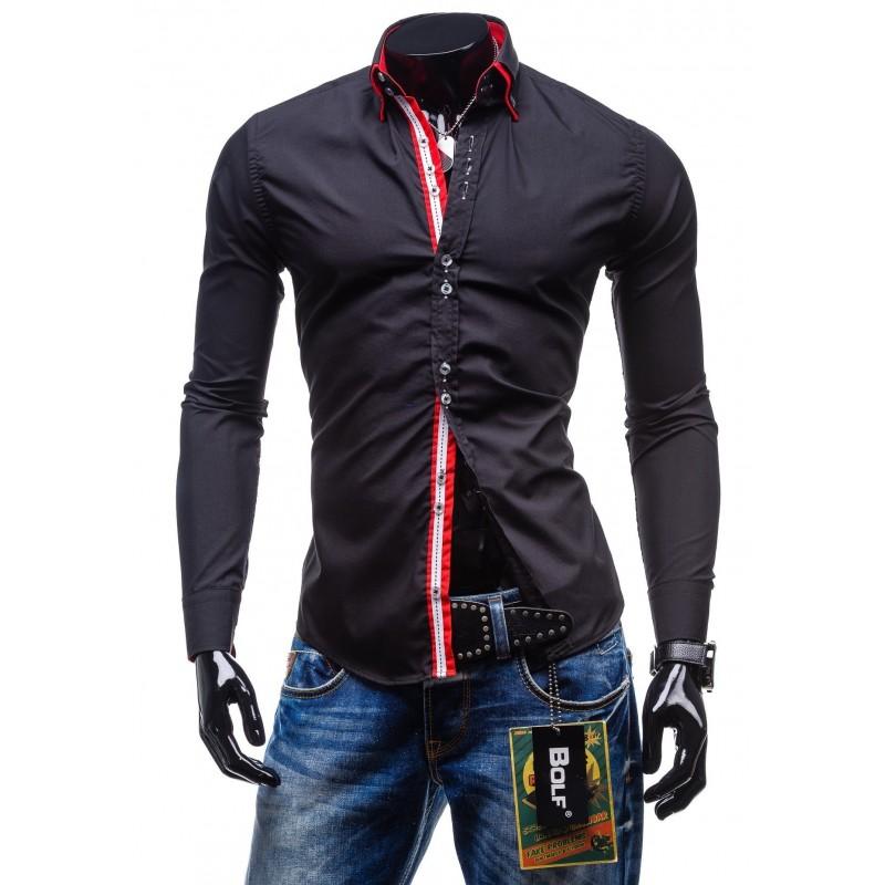 b1b546ffc7cf Elegantná čierna slim fit pánska košeľa - fashionday.eu
