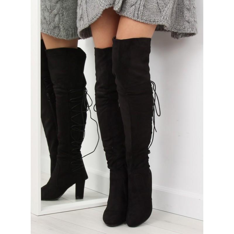 Štýlové čierne čižmy nad kolená s extravagantným šnurovaním d9c7573801e
