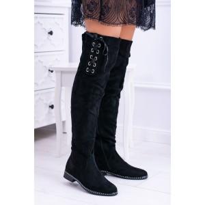 Štýlové čižmy nad kolená so saténovou mašľou a kryštálikmi