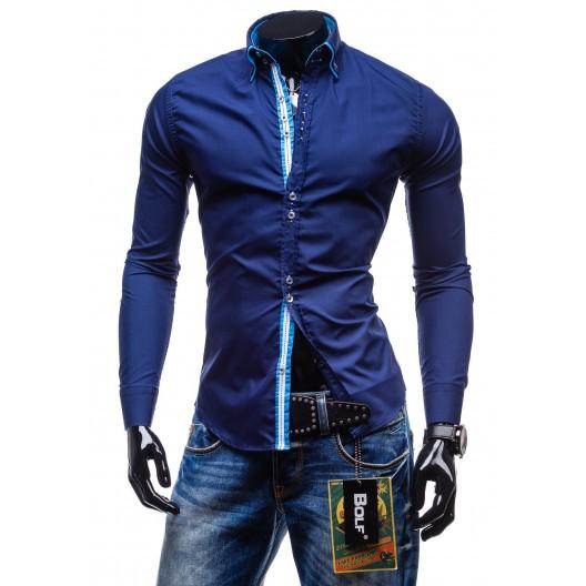 Elegantná tmavo-modrá slim fit pánska košeľa