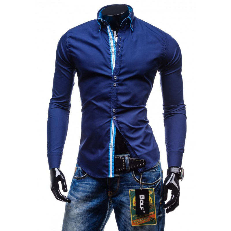 7a51f30adf96 Elegantná tmavo-modrá slim fit pánska košeľa - fashionday.eu