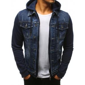 Pánska džínsová bunda v modrej farbe s kapucňou