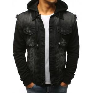 Čierna pánska rifľová bunda s kapucňou