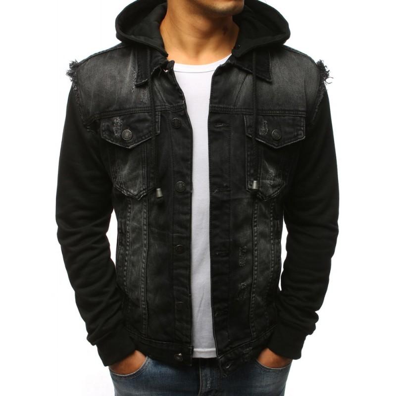 1b05675d1500 Čierna pánska rifľová bunda s kapucňou